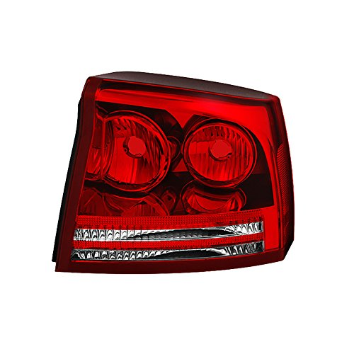VIPMOTOZ Factory Style Tail Light Lamp For 2006-2008 Dodge Charger - Rosso Red Lens, Passenger Side