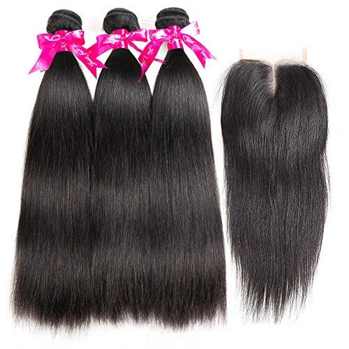 CYNOSURE Brazilian Virgin Hair Straight 3 Bundles with Closure 4x4 Middle Part Human Hair Bundles with Closure Natural Black (18 20 22+16 inch closure) by CYNOSURE