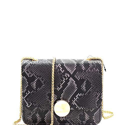 Vintage Neon Color Snakeskin Print Twist Lock Flap Small Chain Strap Crossbody Shoulder Bag (Square Style - Black)