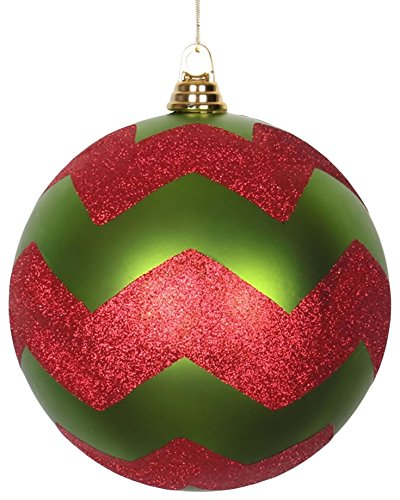 Vickerman Lime Green Matte with Red Glitter Chevron Commercial Size Christmas Ball Ornament 8
