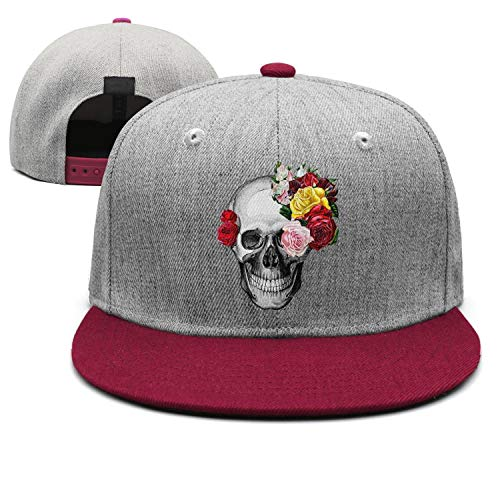 (tuyyi fhyt Dad Rose Drawing Skull Art Snapback hat Flat Brim Classic)