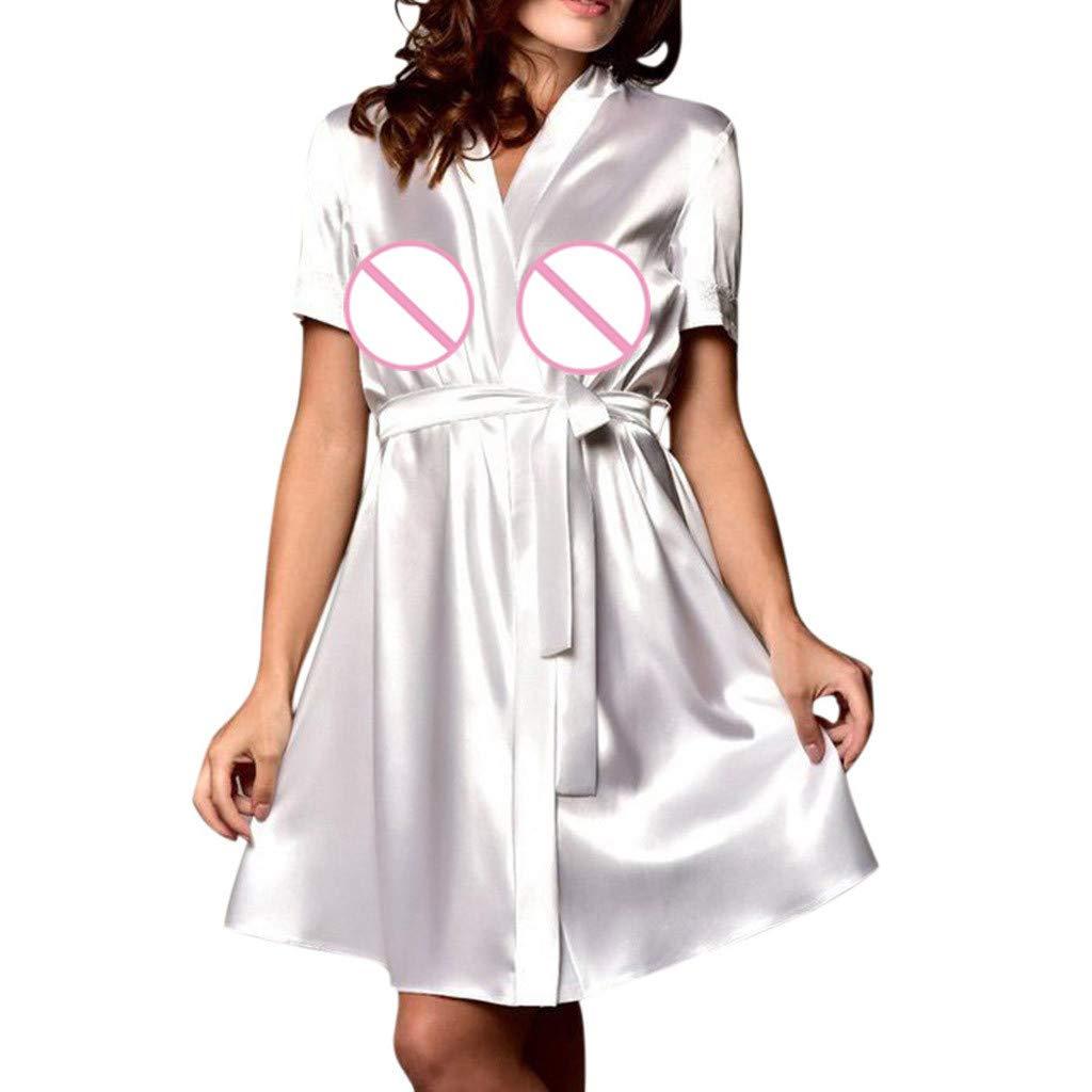 Joyance Women's Sexy Silk Kimono Dress Doll, Lace Cutout Back Satin Satin Bathrobe Pajamas White