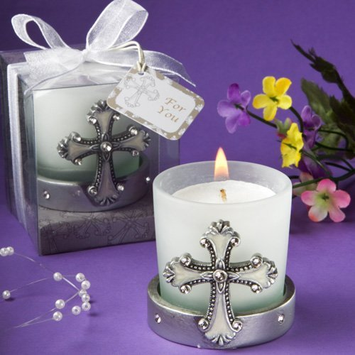Glass Candle Confirmation (Regal Favor Collection cross themed candle holders (Set of 18))