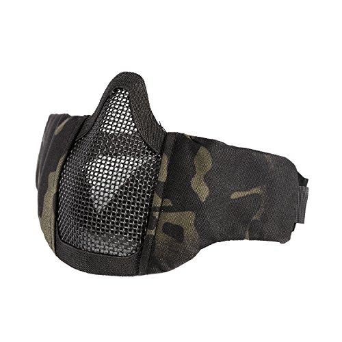 OneTigris 4.5 Tactical Foldable Half Face Mask Protective Mesh Mask Fit Women & Teenagers (Multicam Black)