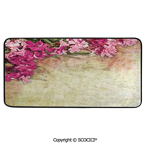Rectangle Rugs for Bedside Fall Safety, Picnic, Art Project, Play Time, Crafts, Large Protective Mat, Thick Carpet,Floral,Vintage Illustration of Oleander Flowers Distressed Retro,39