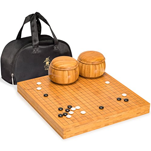 Convex Game Go Stones - Yellow Mountain Imports Go Game Set with Bamboo Go Board (2 Inches Thick), Double Convex Melamine Stones and Bamboo Bowls