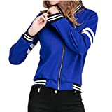 Harmily Women Patchwork Baseball Jacket Long Sleeve Autumn Zipper Coat Outwear