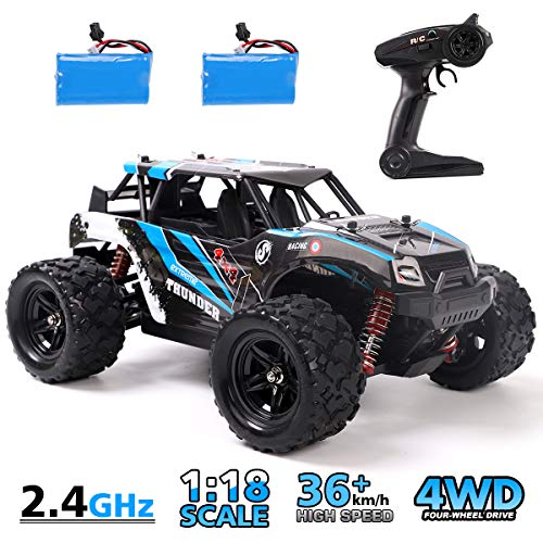 REMOKING RC Car,4WD 1/18 Scale 2.4Ghz Radio,High Speed 25MPH for All Terrain, Anti-Interference Electronic Off-Road Truck with 2 Rechargeable Batteries, Great Gifts for Kids and Adults (Best Cheap Rc Truck)