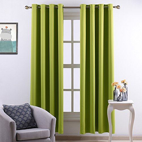 Nicetown Window Treatment Thermal Insulated Grommet Blackout Curtains / Drapes for Bedroom (2-Pack,52 by 84 Inch, Fresh (Window Treatment Ideas)