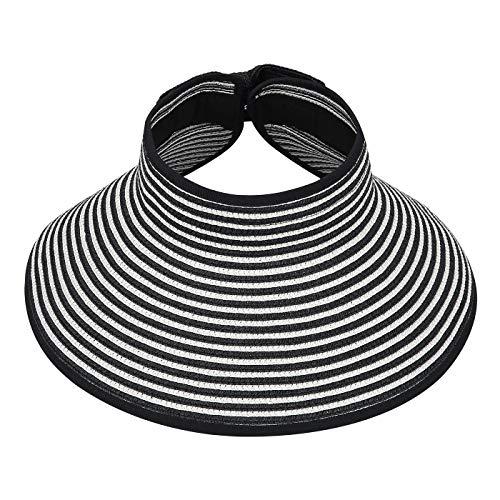 HDE Womens Roll Up Sun Hats Straw Visor Beach Bonnet ()