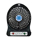 USB Mini Fan Portable Rechargeable Desktop Fan Powered by USB and A 18650 Battery Mini Air Conditioner Ideal for Summer Travel Walking (Black)