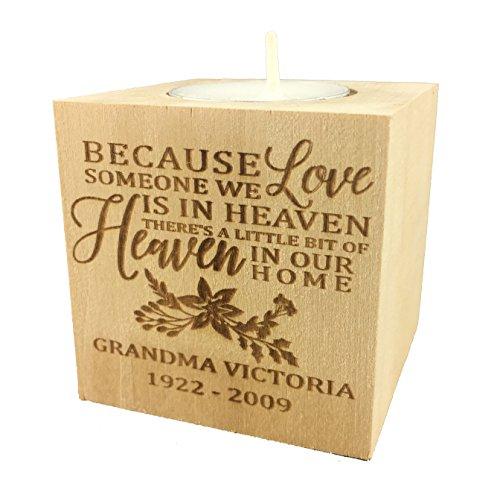 "Personalized Memorial Sympathy Bereavement Candle Holder Custom Engraved Wood Keepsake Ideas for Loved One Tea Light Block (2.5"") ()"
