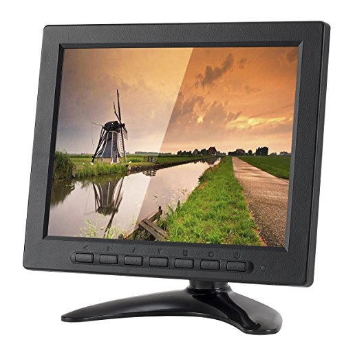 (LSLYA 8 inch TFT LCD Security Monitor 1024x768 Resolution Display Portable 4:3 IPS HD Color Video Screen Support USB AV BNC HDMI VGA BNC Input for PC CCTV Raspberry Pi (8'' LED 1024x768 160°))