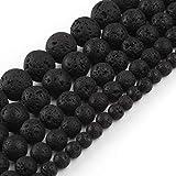 Yochus 6mm Black Volcanic Lava Loose Stone Beads