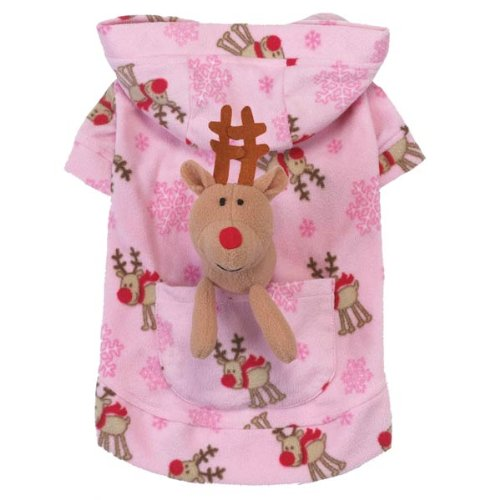 Casual Canine Polyester Holiday Dog Lounger with Toy, Large, Pink