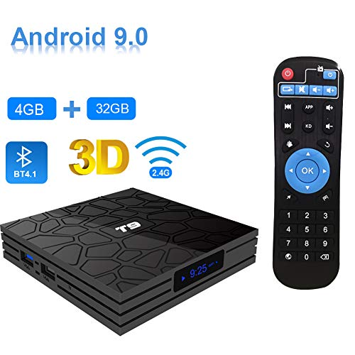 USBNOVEL Android TV Box,9.0 4GB RAM 64GB ROM Smart TV Box,Quad Core /BT4.0 64 Bits/Dual WiFi 2.4GHz 5.8GHz /100M Lan/4K…