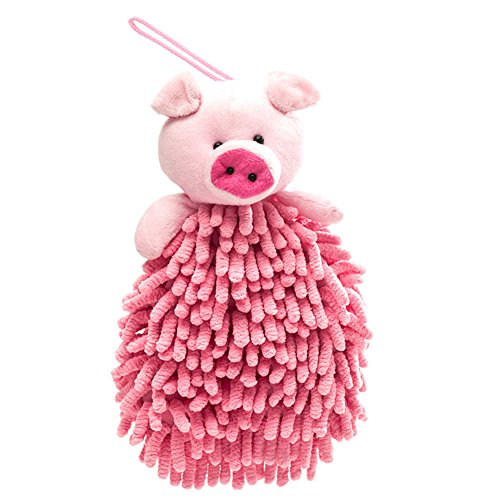 Price comparison product image Meirun Cartoon Cleaning Dust Cloth,Microfiber Hand Wash Towel with Hang Rope Multipurpose for Car and Home(Pink Pig)