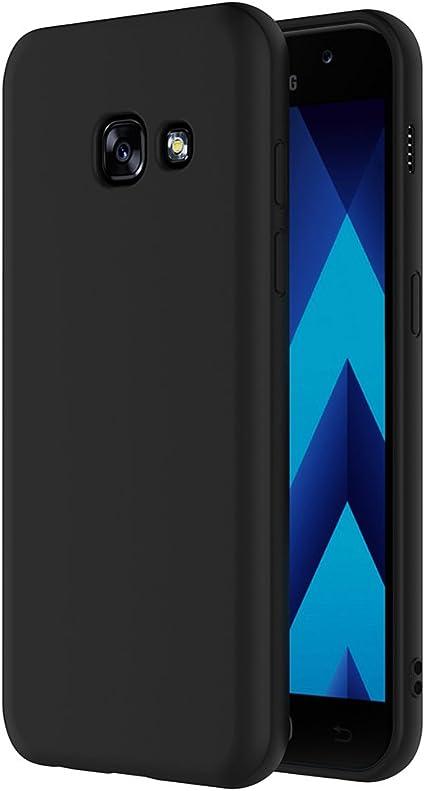 AICEK Coque Samsung Galaxy A5 2017, Noir Silicone Coque pour Galaxy A5 2017 Housse (5,2 Pouces) Noir Silicone Etui Case