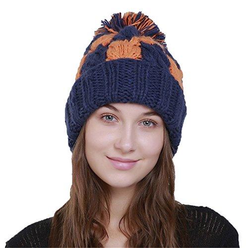 Pompon De Pour Acvip Fil Chapeau 2 Femme Bleu Laine Avec En style Bonnet Tricoté x4gqw8IF