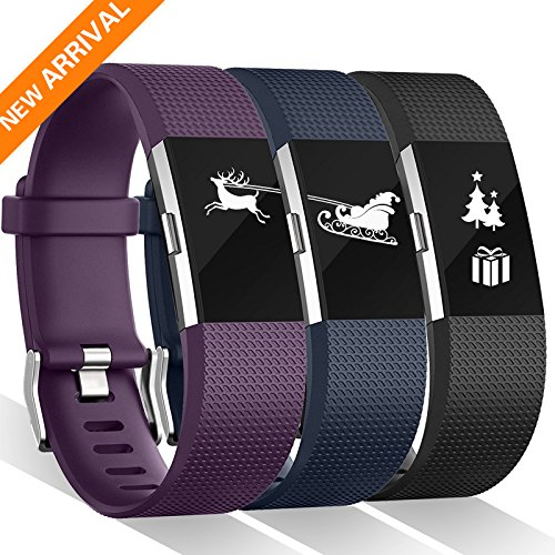 For Fitbit charge 2 Bands, Kasliny 12 Color Replacement Bands for Fitbit Charge 2 HR Wristband For Women Men Gifts (Small, Large, Pack, Buckle) (#03M(Black/Navy Blue/Plum), Small (5.5 - 6.7 in))