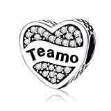 925 Sterling Silver Love Hear Teamo Spanish Bead Charms with Clear CZ Charms Fit Snake Chain Bracelet