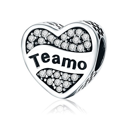XingYue 925 Sterling Silver Heartbeat Charm Bead Red Enamel Love Heart Charm Love in My Heart (Heart Teamo Charm) ()