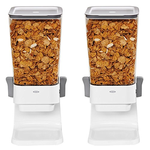 OXO Good Grips Countertop Cereal Dispenser, Clear/White (Pack of 2) Countertop Cereal