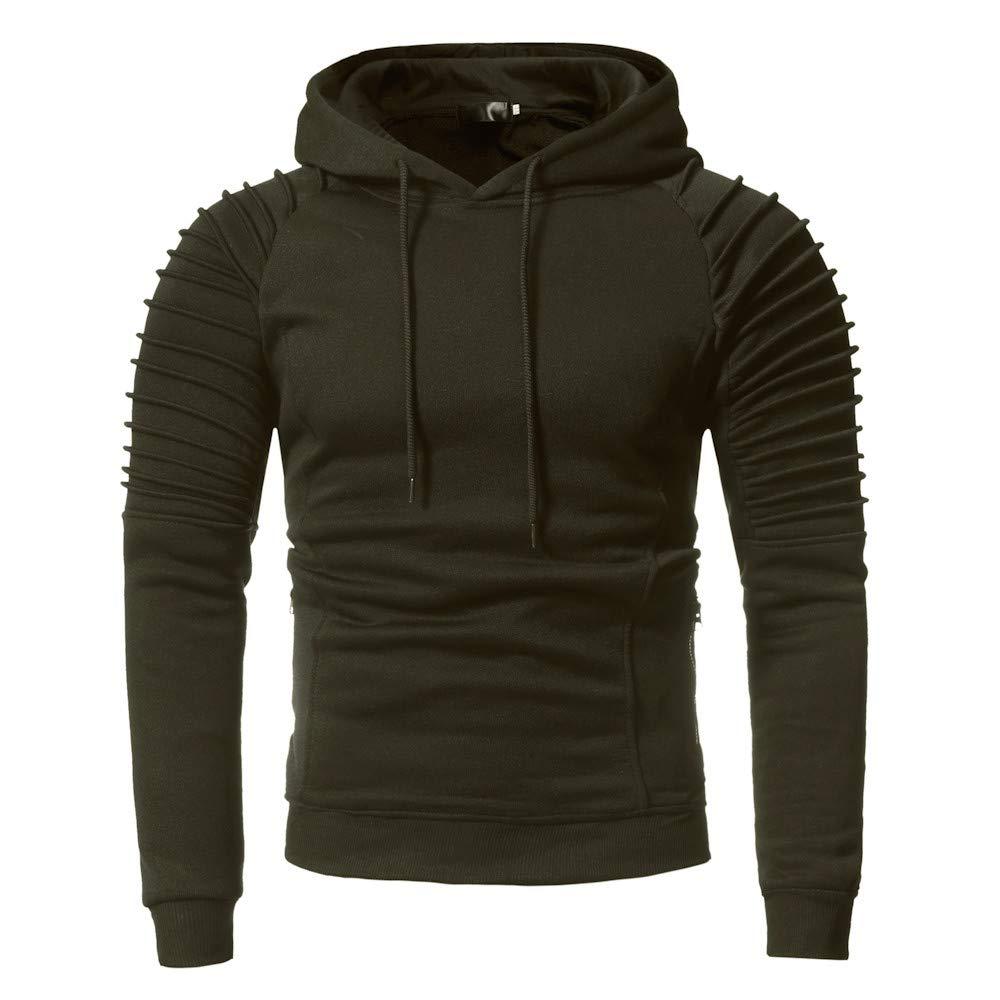Sumen Men Long Sleeve Soild Color Casual Sweatshirt Hoodie Tracksuit Top Coat