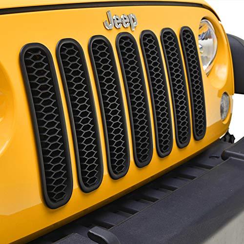 (Tidal Matte Black Honeycomb Mesh Grille Insert for 07-18 Jeep Wrangler JK - 7 Pics Kit)