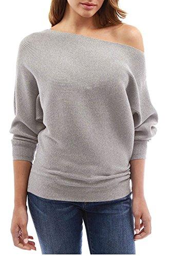 Bluse Pipistrello shirt Autunno Grigio Inverno Manica Obliquo Cime Nuovo T Jumper Tinta Maglietta Tops A Maglione Moda E Donna Pullover Maglieria Spalla Unita xaAqwI