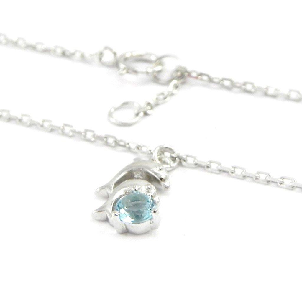 Silver ankle chain 'Dauphins'aquamarine. Les Trésors De Lily 010902ARG122011I363600