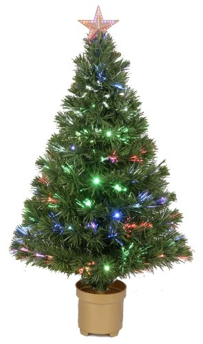 Jolly Workshop Multi-Color LED Fiber 125 Tips 11-Ply Optic Tree Top Star 20 LED's with Gold Base, 36-Inch (Fiber Xmas Optic Trees)