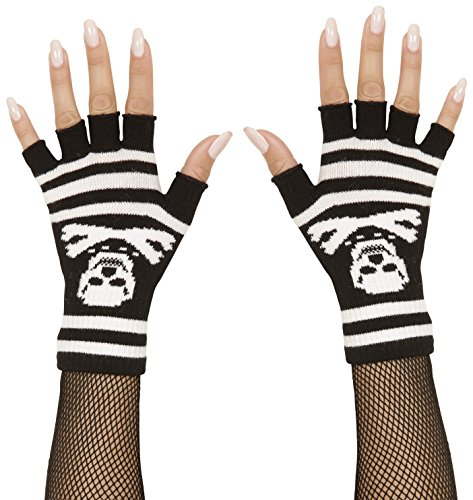 widmann 02422 – Fingerless Gloves with Bones and Skull One Size Fits Most Adults