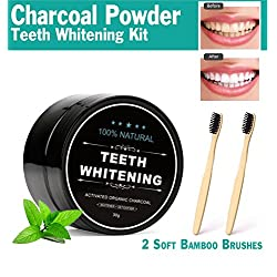 Real Vibes Activated Charcoal Teeth Whitening Powder Kit with 2 Bamboo Toothbrushes