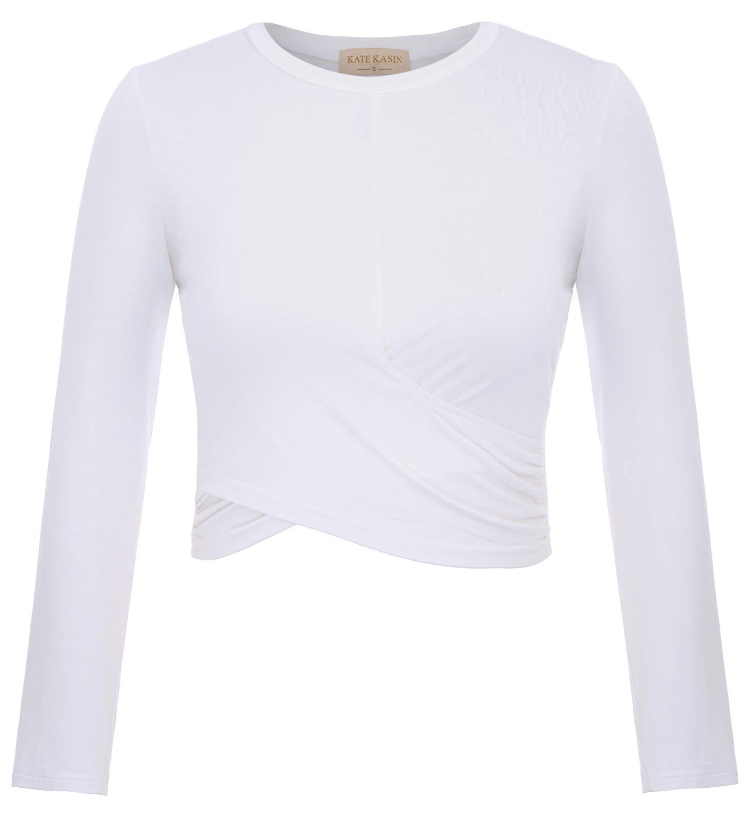 Womens Long Sleeve Basic Crop Top Round Neck with Stretch White,M