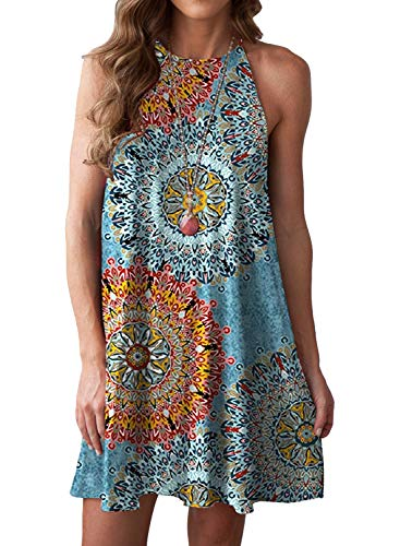MITILLY Women's Halter Neck Boho Floral Print Loose Casual Sleeveless Short Dress Large Multicolor Blue (Polyester Dresses For Women)