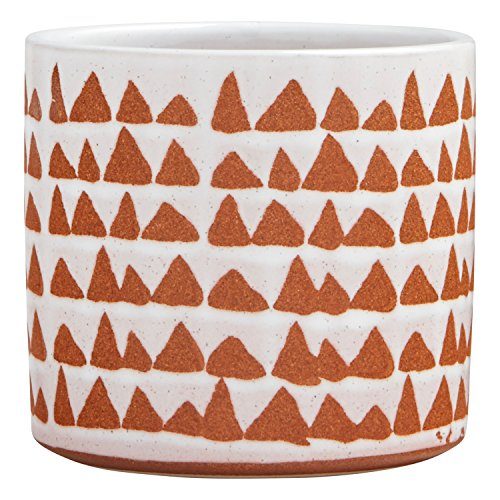 - Stone & Beam Modern Ceramic Triangle Decor Planter Pot - 5 Inch, White and Terra Cotta