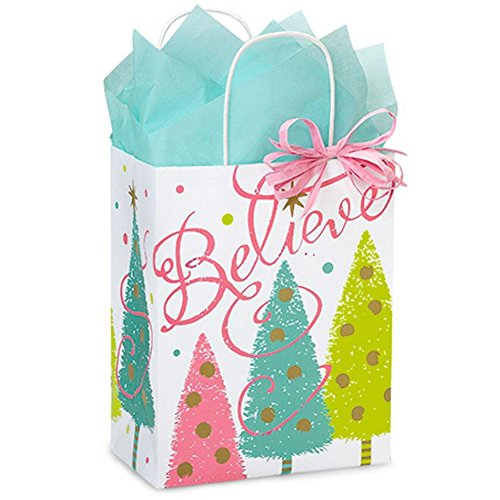 Golden Holiday Wishes Paper Bags - Cub Size - 8.25in. X 4.75in. X 10.5in. - 200 Pieces by NW