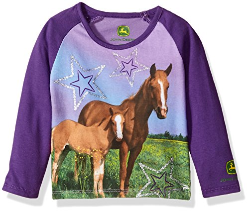 - John Deere Baby Girls' Long Sleeve Screen Print Tee, Purple, 2T