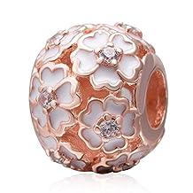Cherry Blossom Charm 925 Sterling Silver Charm Flower Charm Rose Charm Valentine Charm for Europe Charm Bracelets (Rose Gold)