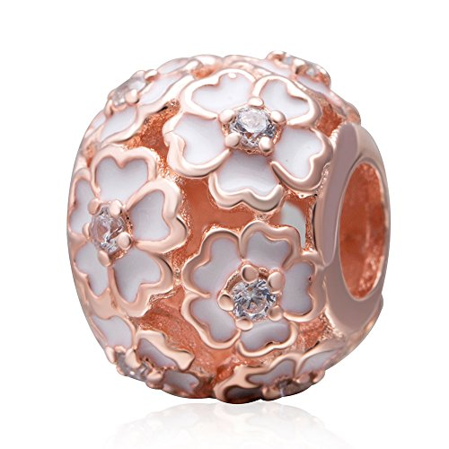 The Cherry Blossom Charm 925 Sterling Silver Flower Beads fit for DIY Charms Bracelets (Plated Rose Gold Flower) Blossom Flower Bead