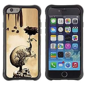 Suave TPU GEL Carcasa Funda Silicona Blando Estuche Caso de protección (para) Apple Iphone 6 PLUS 5.5 / CECELL Phone case / / Rose Skull Metal Rock Roll Death Beige /