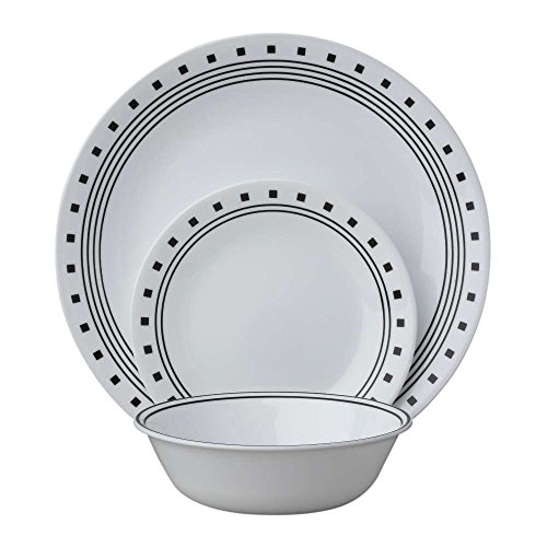 Corelle 18-Piece Service for 6, Chip Resistant, City Block Dinnerware Set,