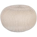Natural 60cm Chunky Knit Round Pouffe Foot Stool Knitted Crochet Footstool Seat by Country Club