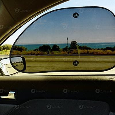 Zone Tech Mesh Side Window Sun Shades - 2-Piece Premium Quality Car Pop-Up Mesh Side Window Sunshade: Automotive