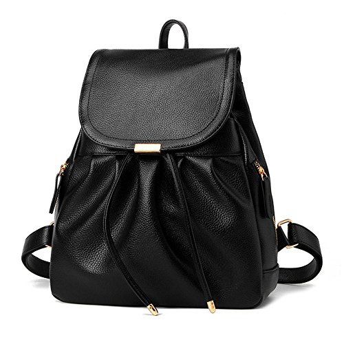 - Z-joyee Casual Purse Fashion School Leather Backpack Shoulder Bag Mini Backpack for Women & Girls,Black3
