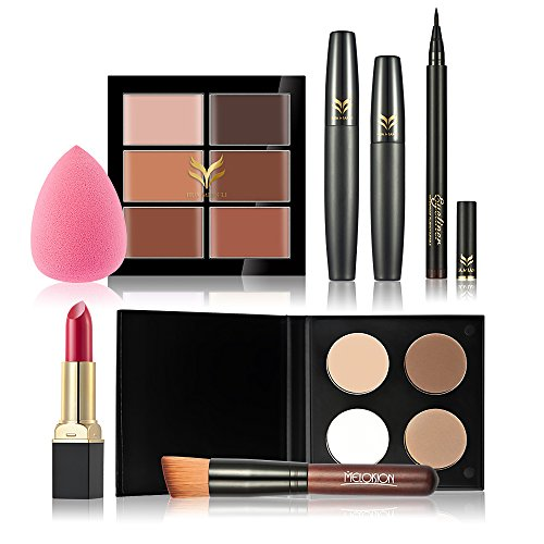 Huamianli 7Pcs Cosmetic Kit Makeup Set Concealer Lipstick Powder Eyeliner Pen Puff Mascara Foundation Brush Kit