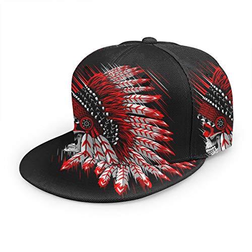 Free-cap2 Indian Chief Skull Baseball Cap 3D Print Snapback Unisex Adjustable Hip Hop Dad Hat Casual Team ()