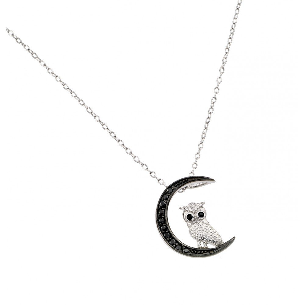 Forever Flawless Jewelry Sterling Silver Rhodium Plated CZ Owl on Moon Charm Pendant Necklace