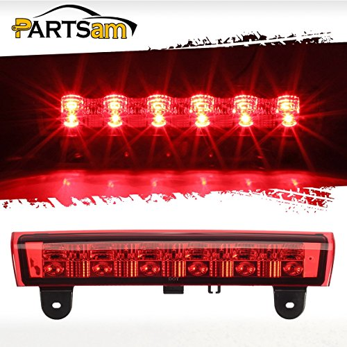 (Partsam Red High Mount Stop Light 3rd Third Brake Light Replacement for Chevy and GMC 2000 2001 2002 2003 2004 2005 2006 Suburban/Tahoe/Yukon Rear Roof Center Mount Brake Tail Light (Red Lens))